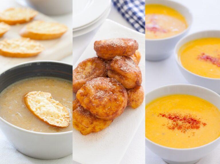Onion Soup Pumpkin Fritters and Butternut Soup