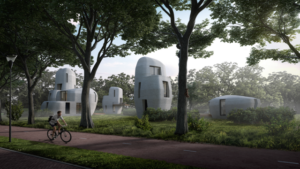 man cycling past 3d printed home