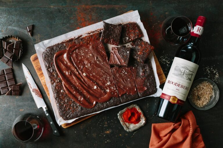 Image of brownies and wine
