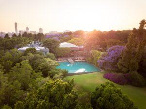 Saxon Hotel air view hello joburg