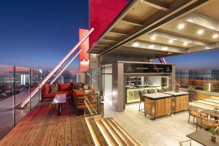 view of the new Leonard Rooftop Bar