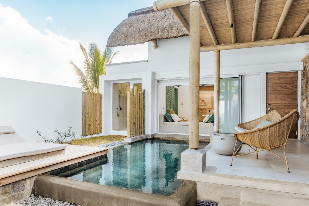 view of villa with pool in mauritius