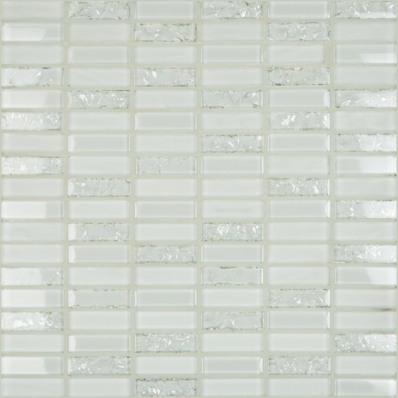 Crackle White 1.8 x 0.6 Mosaic 12x12 Sheet