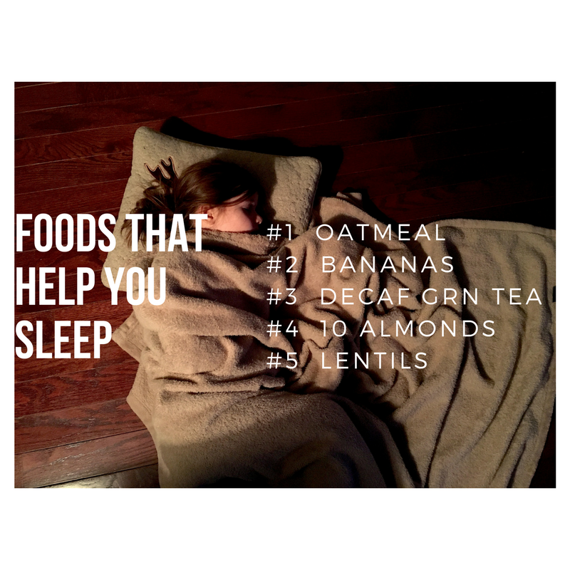 Person sleeping with list of foods that help you sleep: oatmeal, etc.