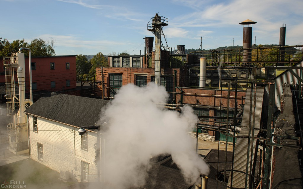 A view of the distillery from a rooftop on the Hard Hat tour.