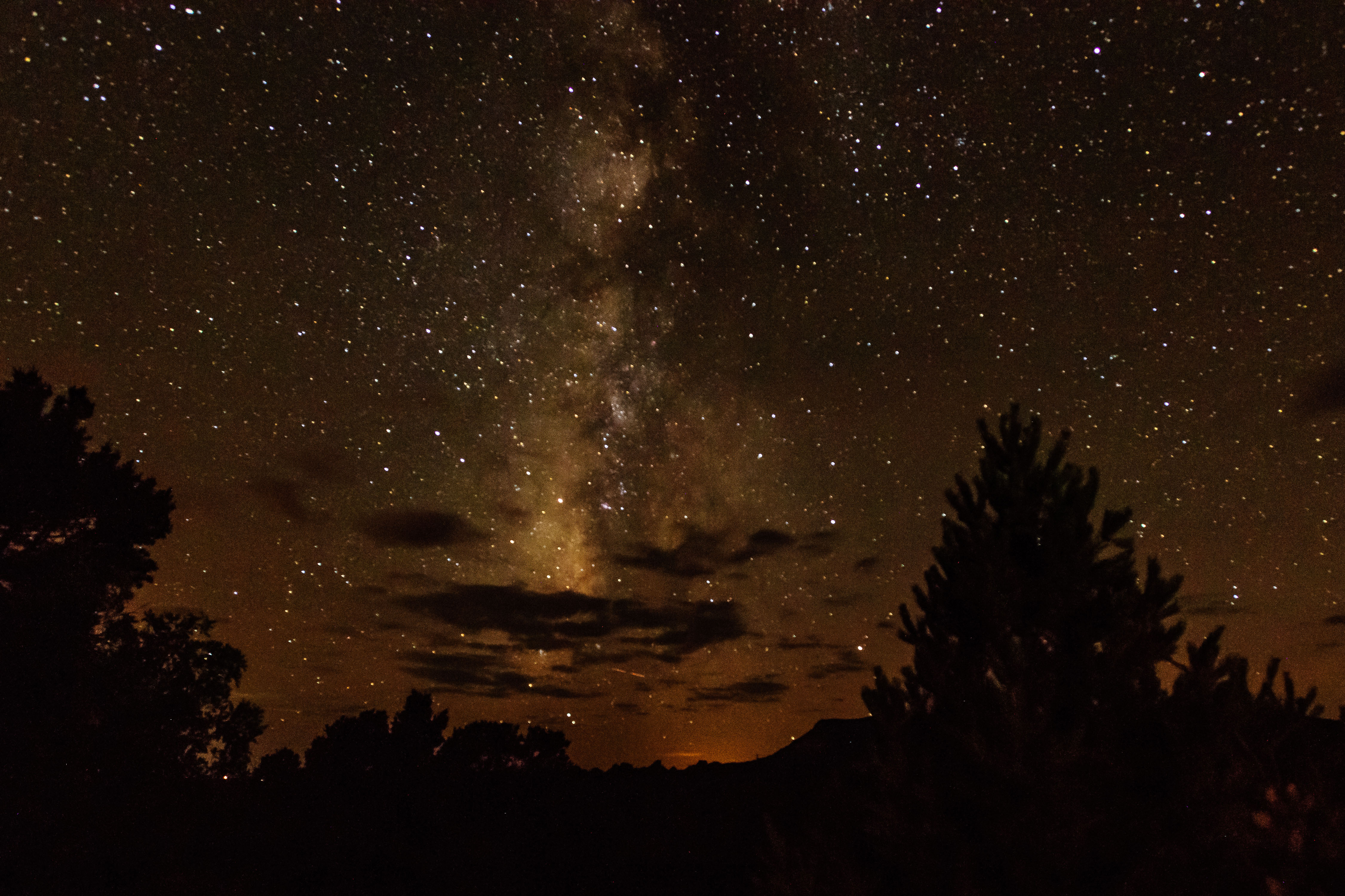The night sky and Milky Way on night in the early fall at the NRA Whittington Center. [Nikon D3X}