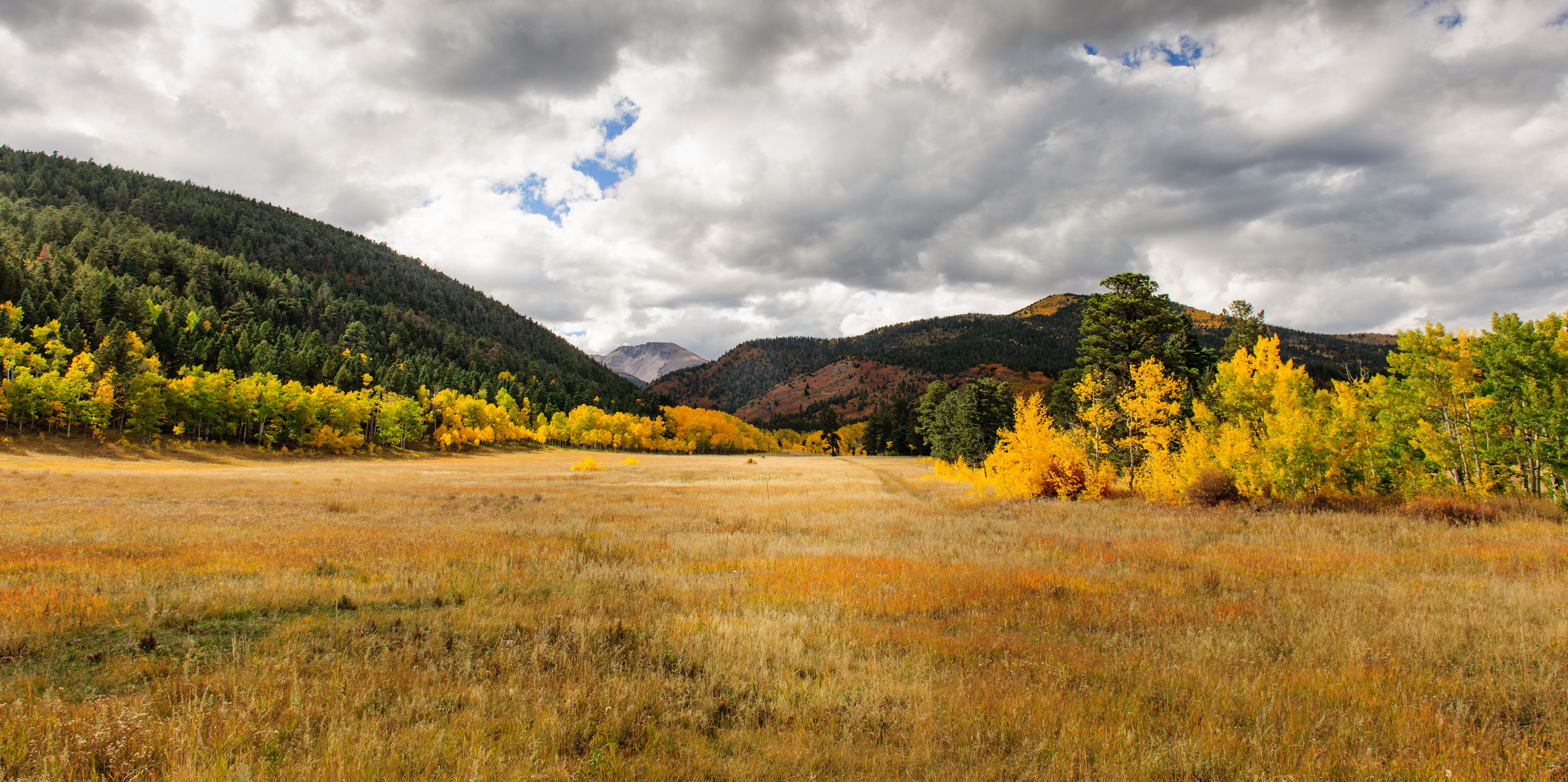 The fall colors along the North Fork Pugatorie River in Southern Colorado. Cuatro Peak in the distant [Nikon D3x]