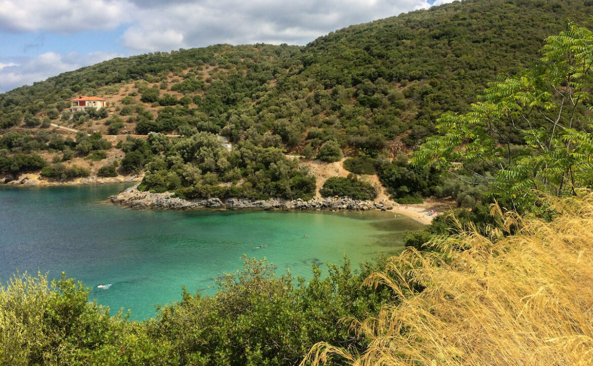 Pelion Greece, the sun was shining, not minuscule clouds offering a bit of shade, but a lovely palette of midday colours, vivid in my memory.