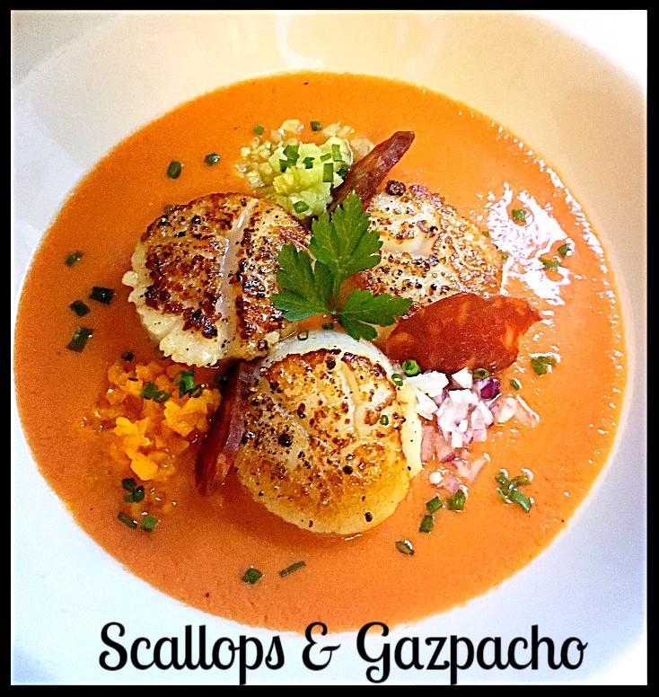 Gazpacho, Scallops, Tropezones