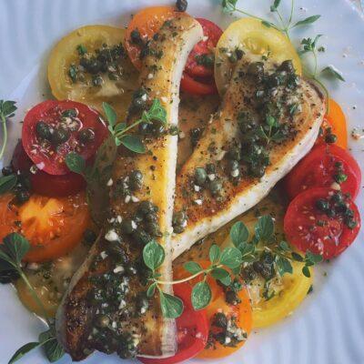Swordfish, Heirloom Tomato, Caper Salsa Verde