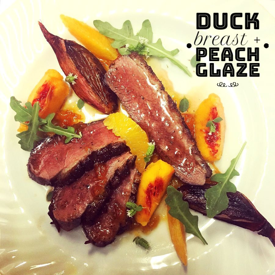Muscovy Duck Breast, Roasted Shallot, Peach Marmalade, Arugula