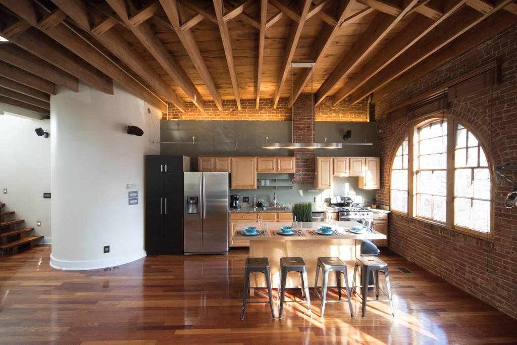 boston airbnb wooden beams