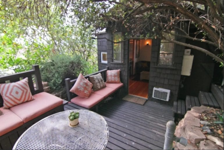 Where to stay in Los Angeles: the private front porch area doubles as a living room