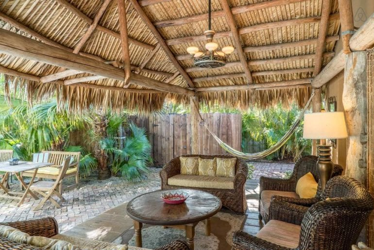 wicker roofed outdoor space at a West Palm Beach vacation rental property in Florida