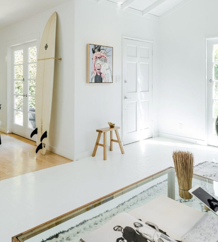 Pacific Palisades airbnb living space with surfboard