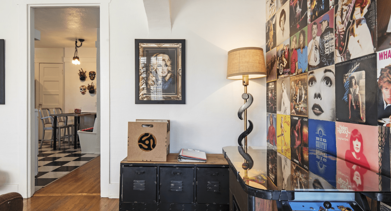 living area with loads of records on the wall in an LA Airbnb