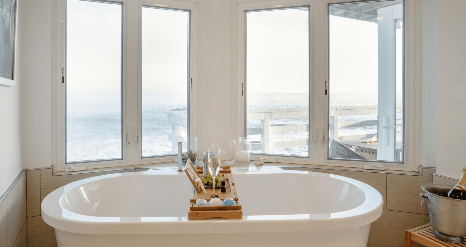 bathtub with a sea view