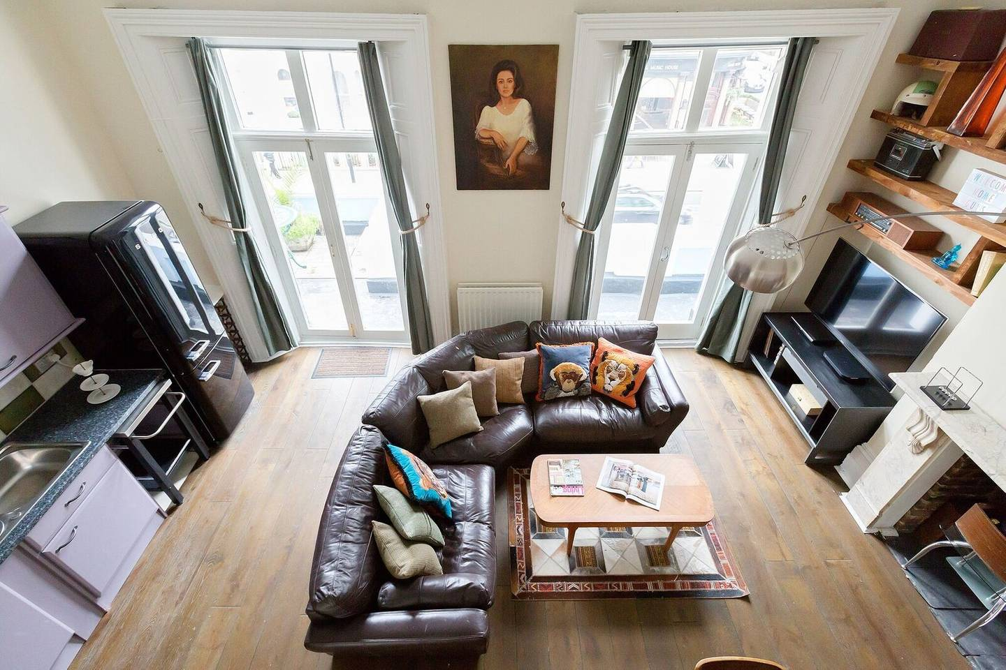 big sofa or couch in an airy London Airbnb