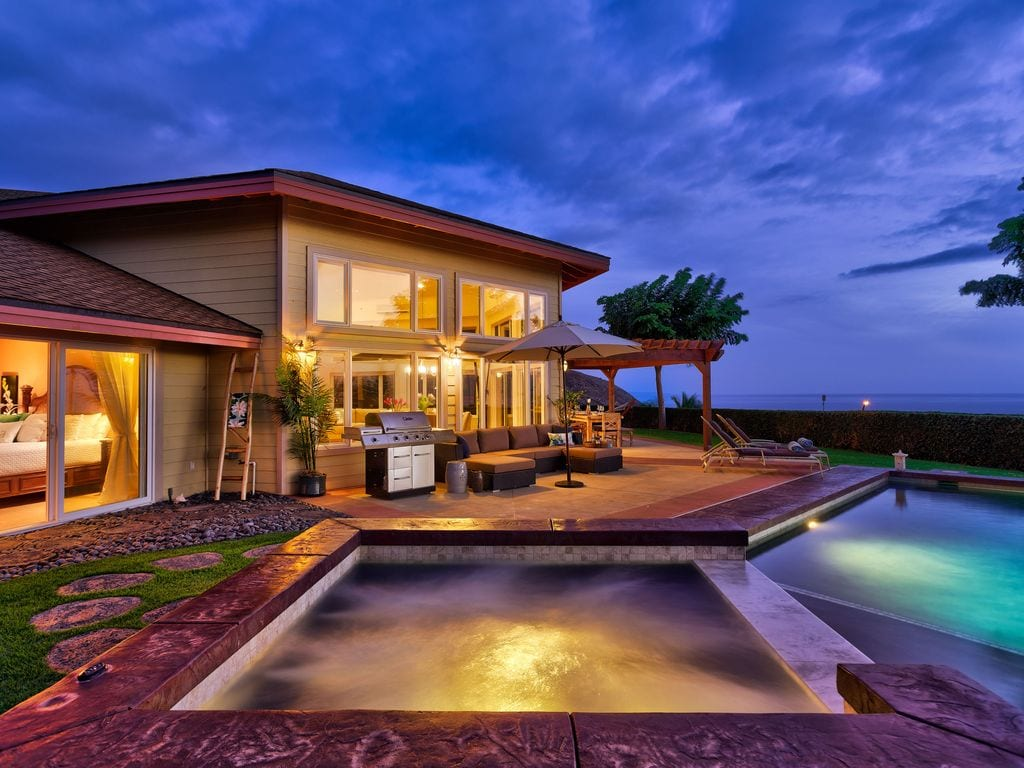 gorgeous Maui pool photographed at sunset for VRBO