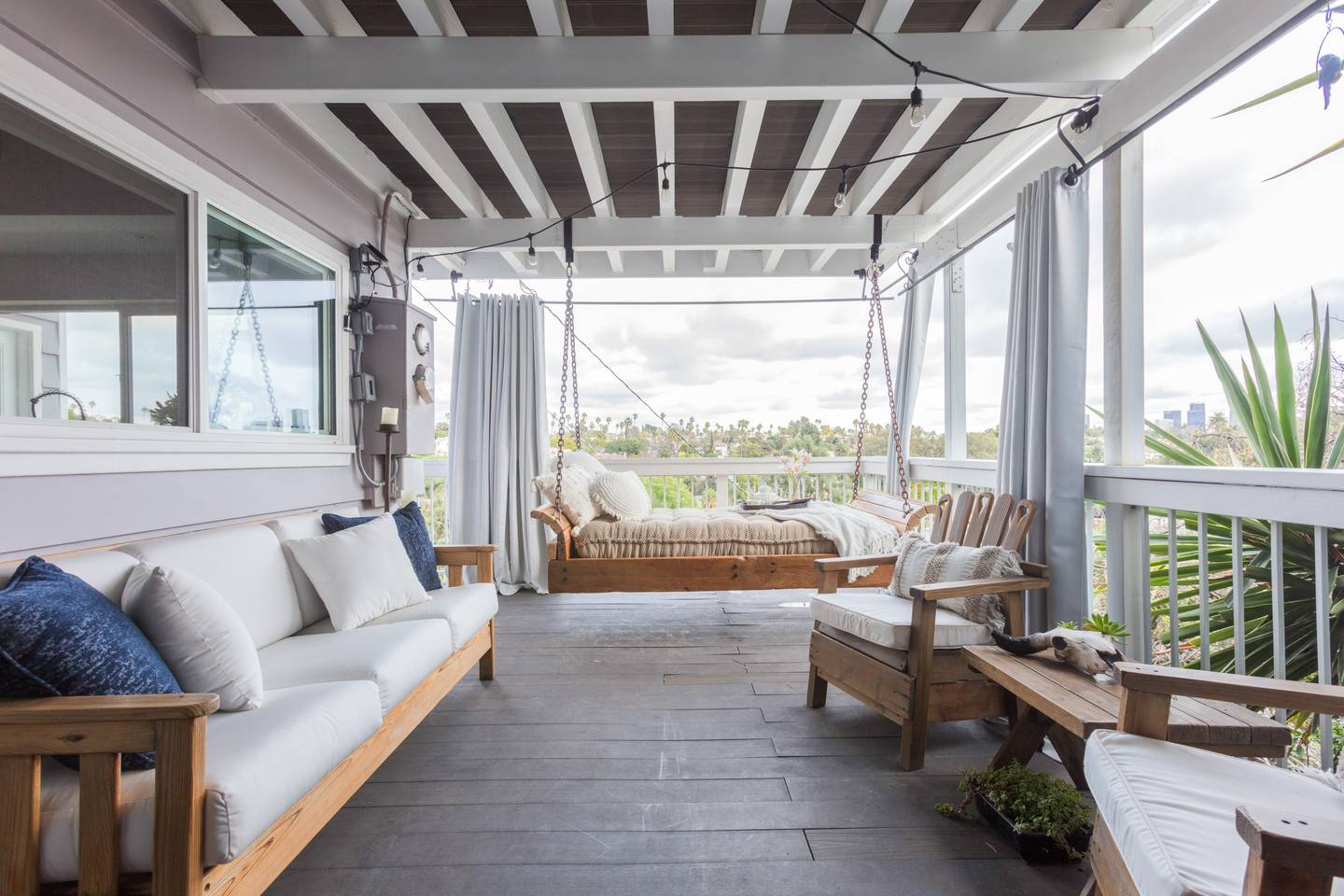 luxury hill house with porch swing los angeles