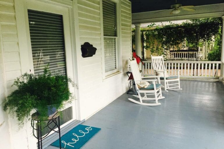 The front porch has rocking chairs for enjoying your morning coffee