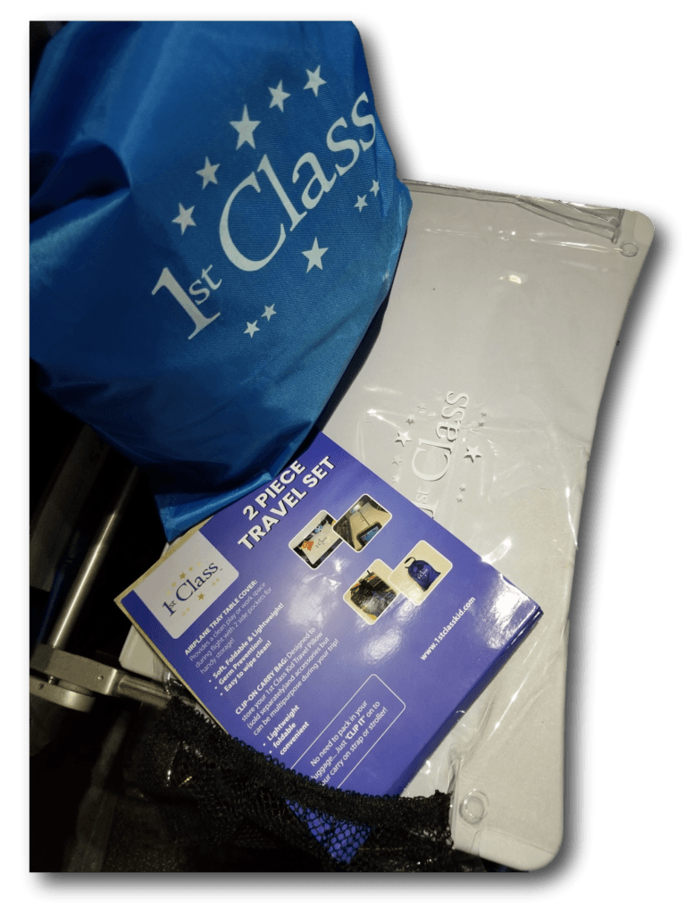 2Pce Travel Set consists of a Clip Bag & a Airplane Tray Table Cover.