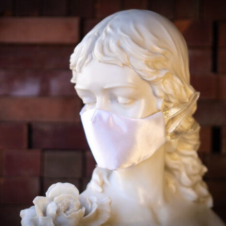 Classic Bride Ivory Silk Tafetta Face Mask Gold Ribbon (2)