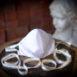 Classic Bride Ivory Silk Tafetta Face Mask Gold Ribbon (3)