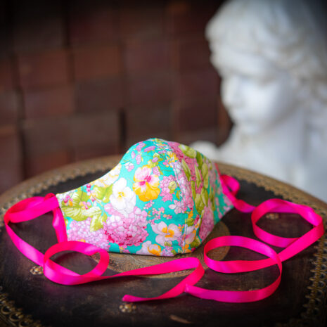 Silk Hydrangea Thai Silk Face Mask Ribbon Ties (3)