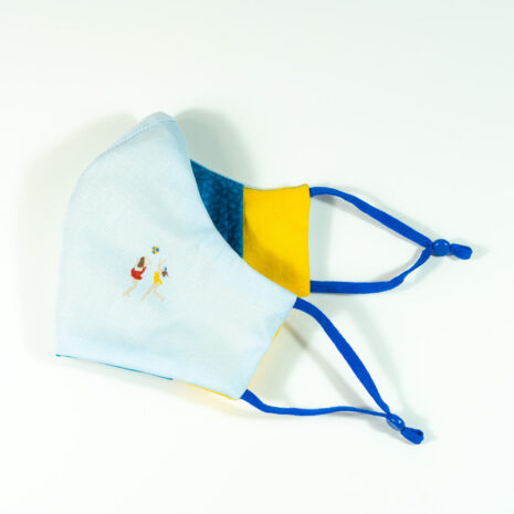 Side View of Embroidered Blue Cotton Shirting Sculpted Fitted Face Mask