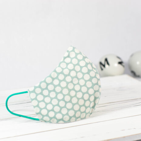 Classic Aqua Dots Organic Cotton Sculpted Fitted Face Mask (1)