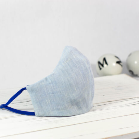 Classic Blue Linen Fitted Sculpted Cotton Face Mask (1)