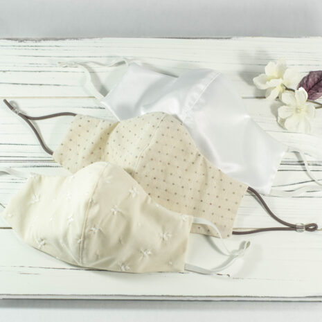 Classic Sculpted Cotton Face Mask Trio in Classic Embroidered Sand Dune, Gardenia, Signature Silk White Tafetta