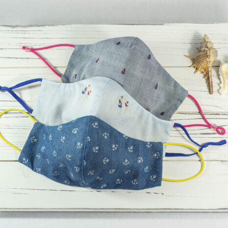 Classic Sculpted Face Mask Trio in Blue Chambray Cotton - Newport Anchors Away, Cote Azur, Sailing Seas