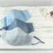 Classic Sculpted Face Mask Trio in Blue Cotton, Blue Denim Chambray Cotton, Blue Linen
