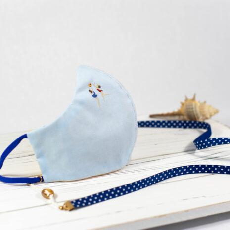 Cote Azure Embroidered Cotton Shirting Sculpted Fitted Face Mask (2)