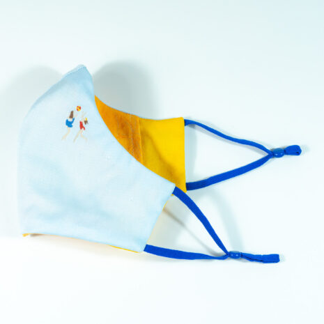 Cote Azure Embroidered Cotton Shirting Sculpted Fitted Face Mask (5)