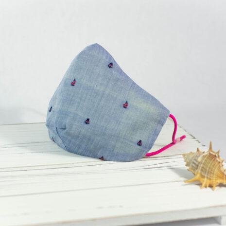 Newport Standard Sailing Seas Blue Chambray Cotton Face Mask Pink (1)