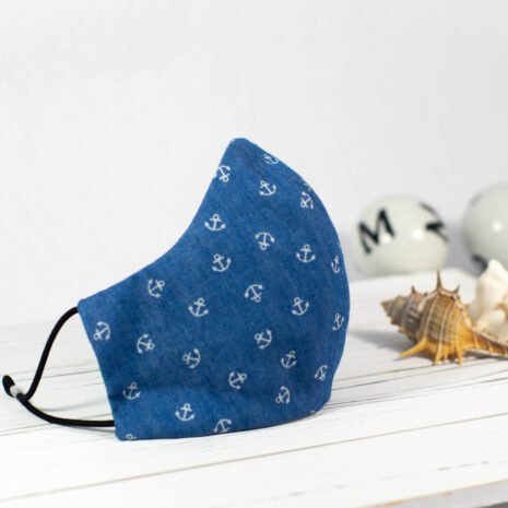 Ocean State Newport Anchors Blue Denim Chambray Cotton Sculpted Fitted Face Mask (4)