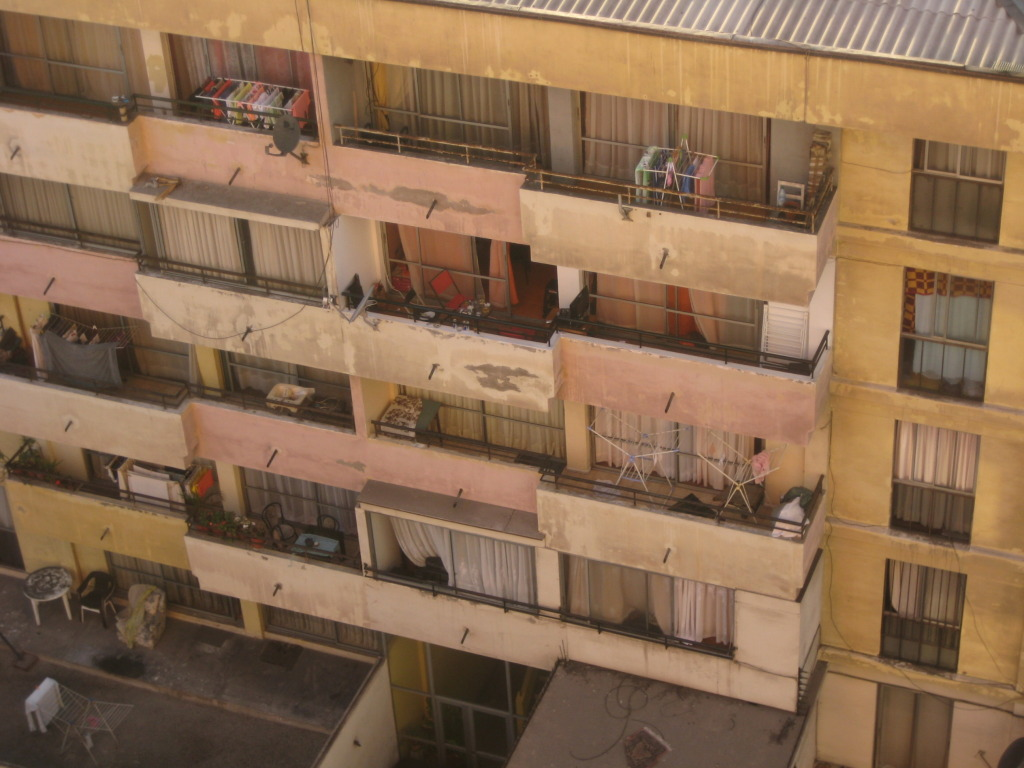 Chilean apartments, back views, clothes drying