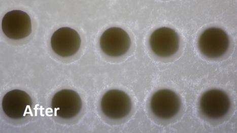 CO2 Blasting for Plastic Deburring in PEEK Drilled Holes