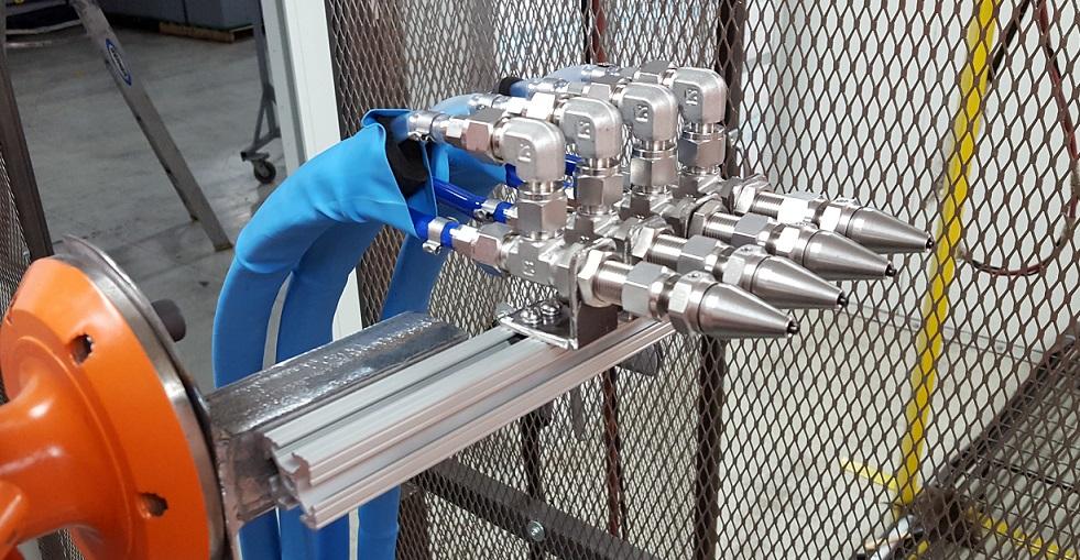 CO2 Spray Nozzle Configuration
