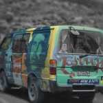 """Stylized picture of """"Escape"""" rental camper van"""