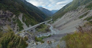 Huge valley with a bridge crossing river