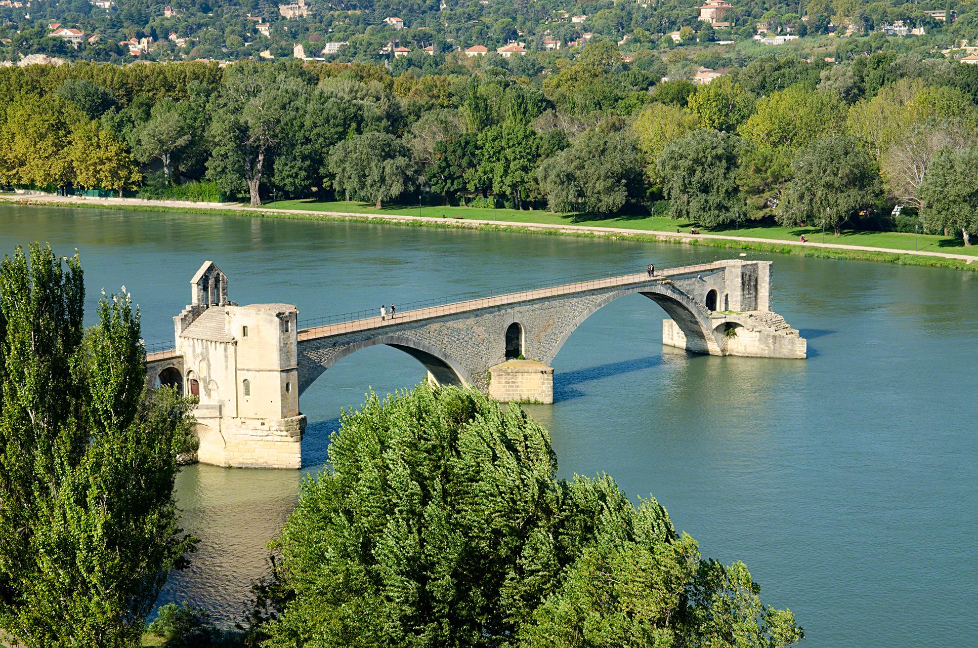 Pont Saint-Bénezet, avignon, france as seen from atop the palais des papes
