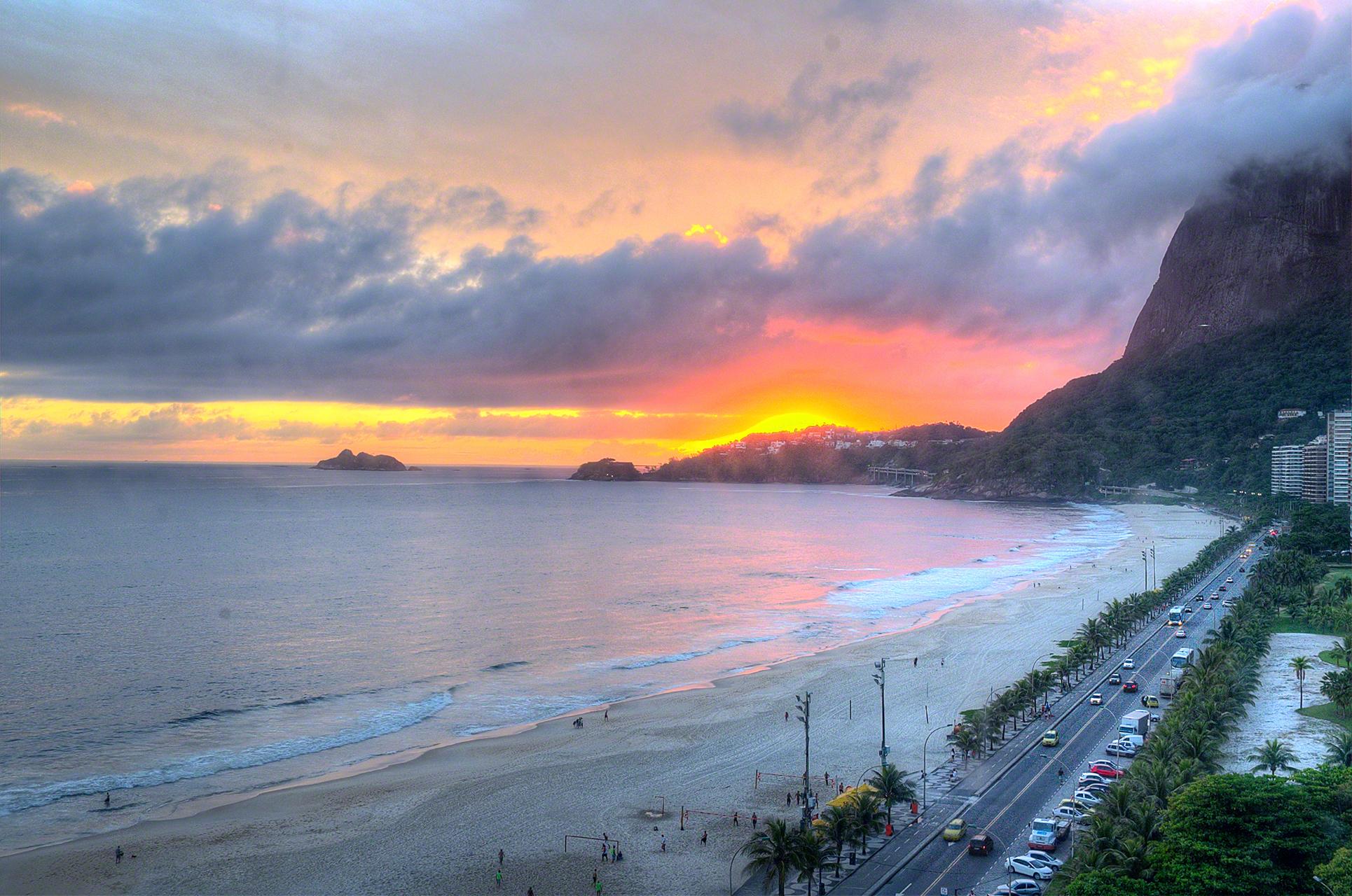 Fireball Sunset on the Beach in Rio, Brazil