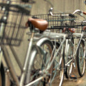 A row of Identical Silver bicycles, Tokyo, Japan