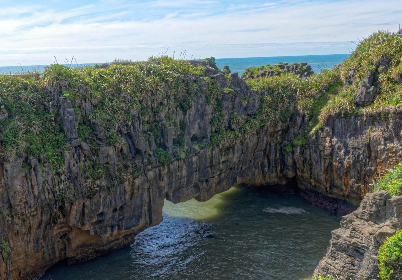Rock bridge over water
