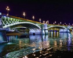 wide angle photo of bridge at night