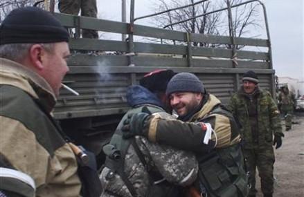 Debaltseve under rebel control, Cossack fighters celebrate